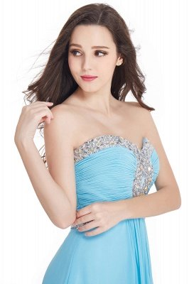 Sexy Long Chiffon Crystals Strapless Sweetheart Prom Dresses