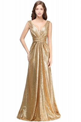 Elegante A-Linie Open Back Pailletten Sleeveless V-Ausschnitt Abendkleider_5