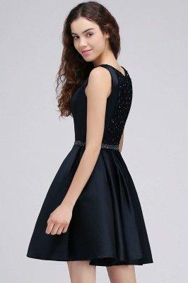 BRIANNA | A-Line cuello redondo corto Dark Navy vestidos de fiesta con cristal_5