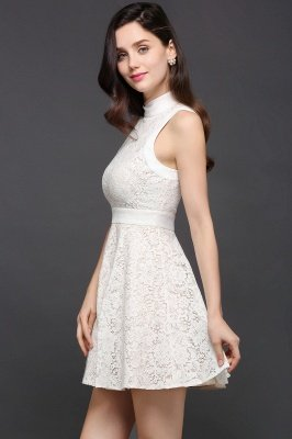 CHLOE | Princess High neck Knee-length White Cute Homecoming Dress_7