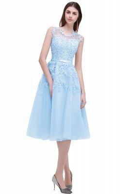 ЭМИРА | A-Line Crew Tea Length Кружева Appliques Короткие платья выпускного вечера_7