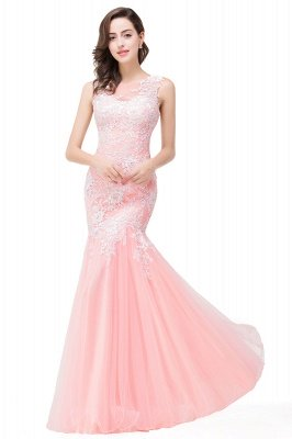 Longue robe de bal maxi dentelle sirène sans manches_1