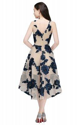 Short Appliques Tulle V Neck Prom Dresses_4