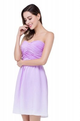 ADLEY | A-line Strapless Chiffon Bridesmaid Dress with Draped_5
