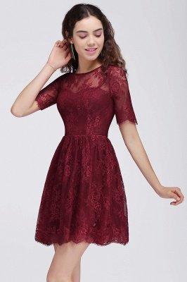 BRITTANY | A linha de vestidos de baile em volta do pescoço curto Lace Borgonha_1