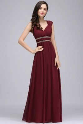 ALISON | Sheath V Neck Burgundy Chiffon Long Evening Dresses With Beads_2