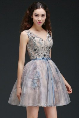 ANN | Vestido de regreso a casa lindo corto con apliques_7