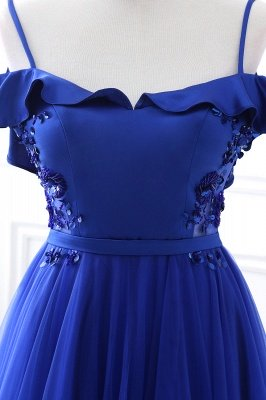 Stunning Off the shoulder blue Tulle ball gown prom dresses_8