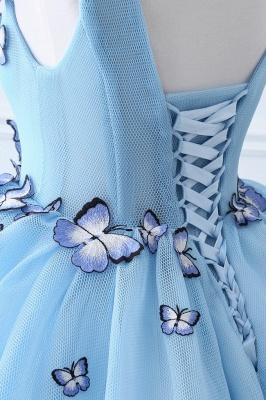 БРЭННА | Принцесса V Шея Часовня Поезд Шифон Sky Blue Пром платья с Butterfly Applique_5