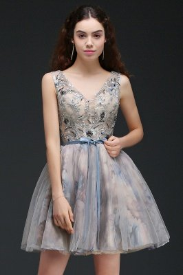 ANN | Vestido de regreso a casa lindo corto con apliques_4