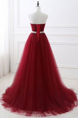 ANGELINA | A-line Sweetheart Burgundy Tulle Prom Dress With Beading_10