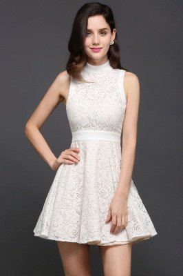 CHLOE | Princess High neck Knee-length White Cute Homecoming Dress_5
