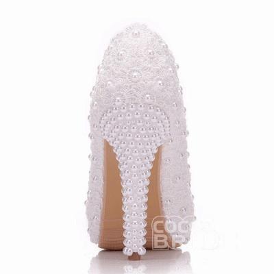 Женская с жемчугом через лодыжку туфли на высоком каблуке свадебные туфли_6