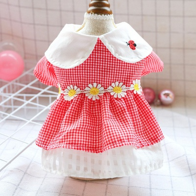 Short Sleeve Grid Pets Skirt with Collar For Puppy_1