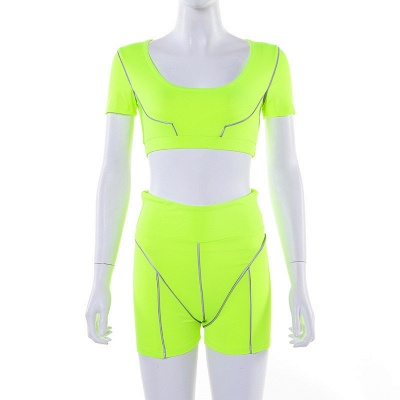Active Yoga Seamless High Waist Two Piece Legging Fitness Set Tight Hip Short Sleeve Suit_38