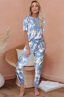 Tie-Dye Kurzarm Pyjama Online-Druck Freizeit Damen Home Wear Online_8