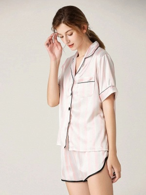 Elegant Short Sleeves Sexy Summer Lapel Silk Home Pajamas Online_1