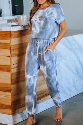 Elegante verano de manga corta cuello redondo Homewear en línea_6