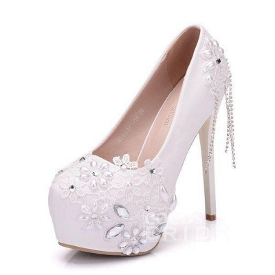 Stiletto Heel Lace Satin Pumps with Rhinestone Imitation Pearl Sequin Lace Flower Bridal Shoes
