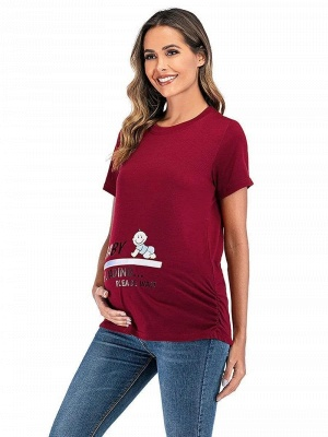 Leisure Printed T-shirt Maternity Clothes with Short Sleeves Online_3