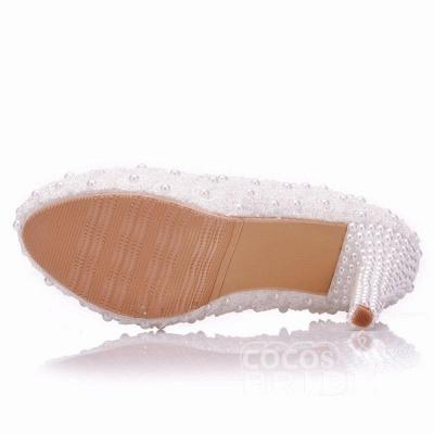Женская с жемчугом через лодыжку туфли на высоком каблуке свадебные туфли_4