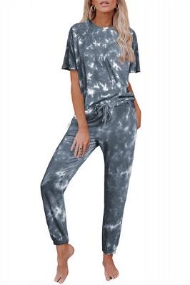 Tie-Dye Kurzarm Pyjama Online-Druck Freizeit Damen Home Wear Online_9