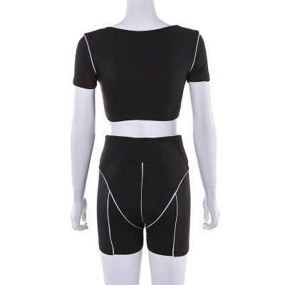 Active Yoga Seamless High Waist Two Piece Legging Fitness Set Tight Hip Short Sleeve Suit_36