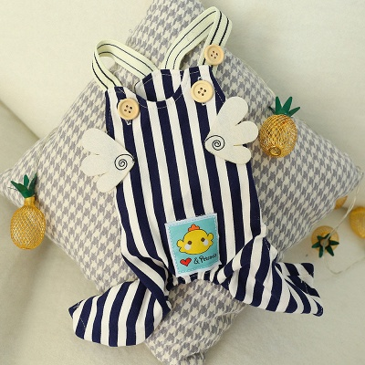 Stripe Straps Dog Jump Suite With Long Pants   Puppy Cloth_3