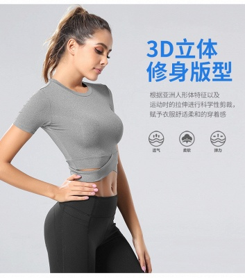 Workout Yoga Crop Tops Gym Exercise Clothes Crop Top Workout Muslce Shirts for Women_17