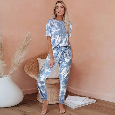 Tie-Dye Kurzarm Pyjama Online-Druck Freizeit Damen Home Wear Online_2