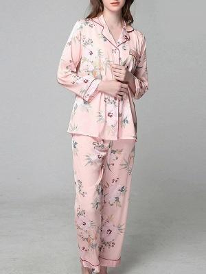Loisirs Femmes à manches longues en soie glacée imprimé pyjamas chemise de nuit en ligne_1