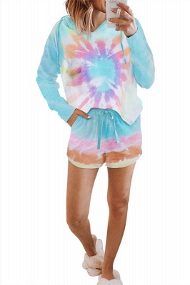 Elegant Tie-dyed Pajamas Online Summer Long-sleeves Round Neck Homewear Online