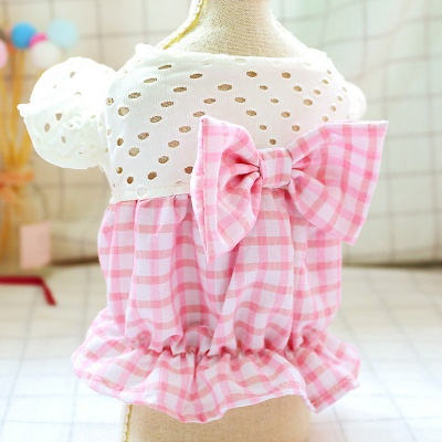Pink Short Sleeve Grid Dog Cloth With Bow For Small Pets_5
