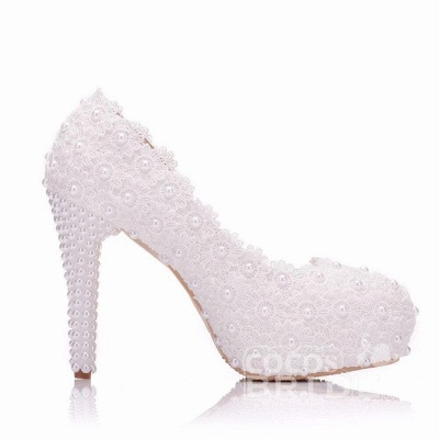 Женская с жемчугом через лодыжку туфли на высоком каблуке свадебные туфли_2