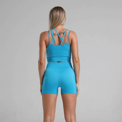2 Pieces Ribbed Seamless Yoga Outfits Sports Bra and Leggings Set Tracksuits 2 Piece_25