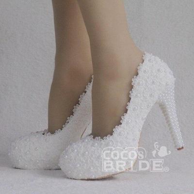 Женская с жемчугом через лодыжку туфли на высоком каблуке свадебные туфли_8