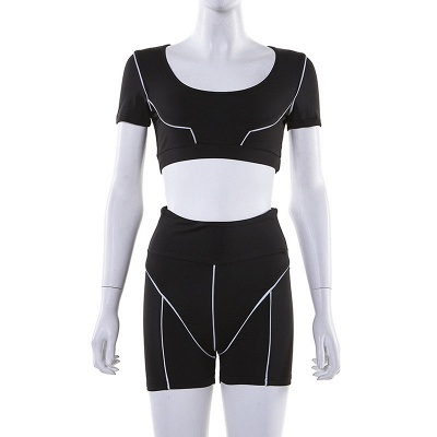 Active Yoga Seamless High Waist Two Piece Legging Fitness Set Tight Hip Short Sleeve Suit_34