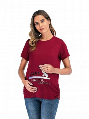 Leisure Printed T-shirt Maternity Clothes with Short Sleeves Online