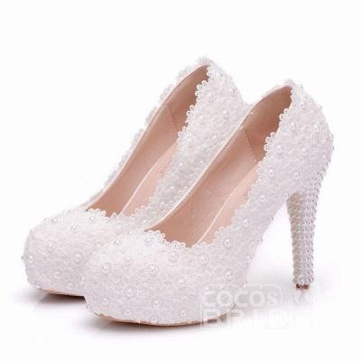 Женская с жемчугом через лодыжку туфли на высоком каблуке свадебные туфли_7