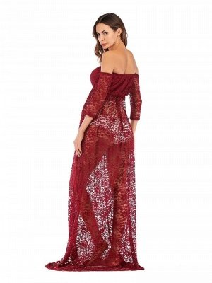 Sexy Strapless Burgundy Half-sleeves See-through Lace Maternity Dress_2