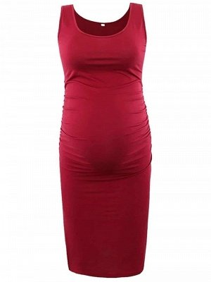 Burgundy Sleevelss Round neck Bodycon Knee-length Formal Maternity Dress