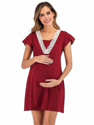 Elegant Casual A-Line Lace Short Sleeves Dress for Pregnant Women