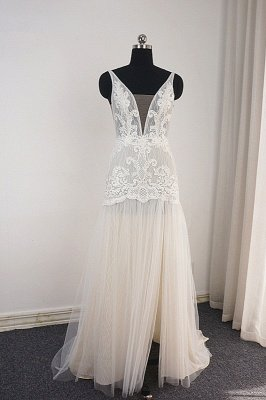 Trendy Ivory Sleeveless Lace Tulle High split A-line Wedding Dress