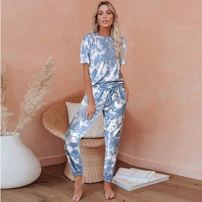 Tie-dye Pijamas de manga corta Impresión en línea Ocio Damas Ropa de hogar en línea_2