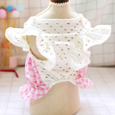 Pink Short Sleeve Grid Dog Cloth With Bow For Small Pets_2