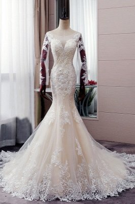 Autumn Long sleeves Mermaid Lace appliques Ivory Wedding Dress