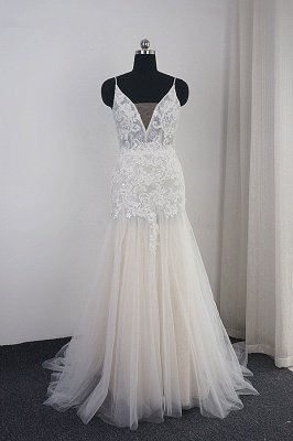 Elegant Floral Appliques A-line Tulle Wedding Dress Spaghetti Straps V-Neck Evening Dress
