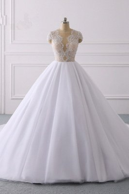 Elegant Cap sleeves V-neck White Ball Gown Lace Wedding Dress