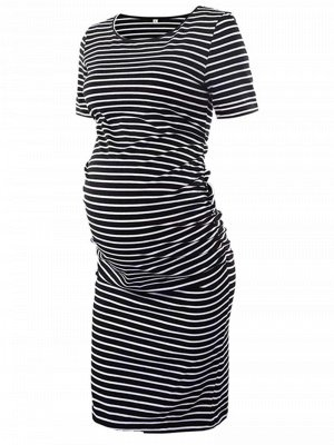 Zebra Stripe Short sleeves Short sleeves round neck Soft cotton Maternity Dress