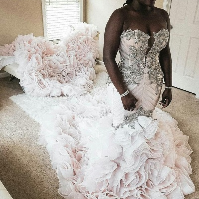 Plus Size Mermaid Crystal Lace Beads Sweetheart Long Train African Custom Made Ruffles Wedding Dresses_2